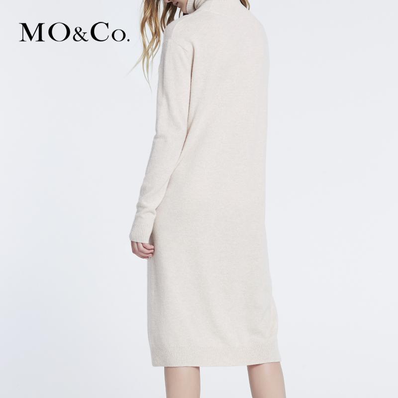 Mo&Co 女士长袖高领羊毛连衣裙