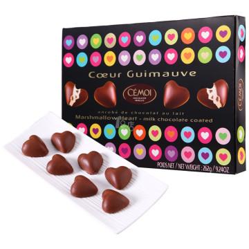 CEMOI赛梦 爱心形棉花糖夹心巧克力礼盒(巧克力制品) 262g 礼盒装 法国进口*3
