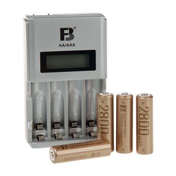 沣标(FB)四槽液晶充电套装(AA2800mAh*4)液晶充电器配5号2800毫安镍氢可充电电池*4节