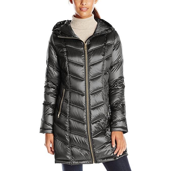 Calvin Klein Mid-Length Packable Chevron 女士长款外套