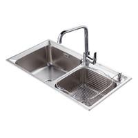 HDEM 海德曼 厨房不锈钢水槽 双槽 带龙头