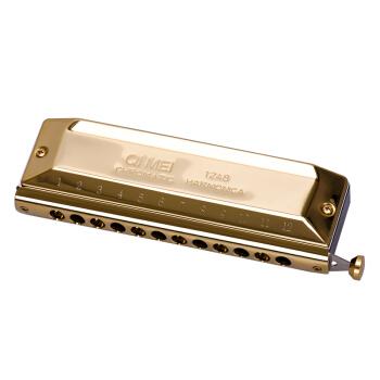 奇美 QM12A-3 12孔48音半音阶圆吹口 金色口琴
