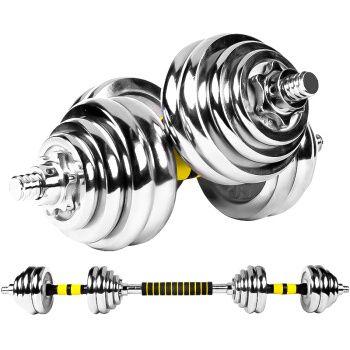 双牌 哑铃 可自由拆装组合30公斤 健身电镀哑铃30KG(两只装)
