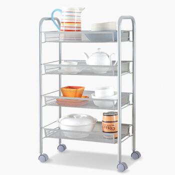 空间生活 厨房可移动储物收纳架 四层收纳车WJM4685-4SL银色赠五连挂购