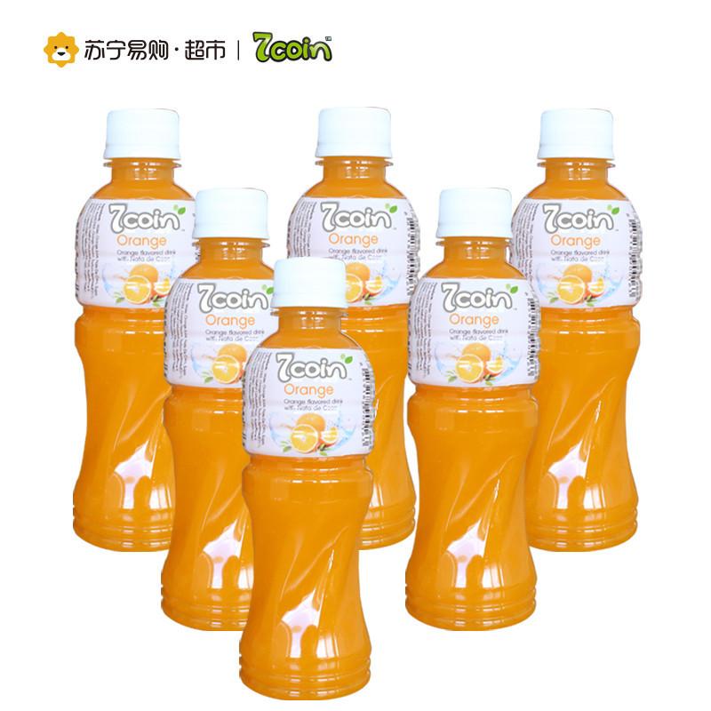 七咔呢(7coin) 橙汁饮料 含椰果 300ml*6支  *2件