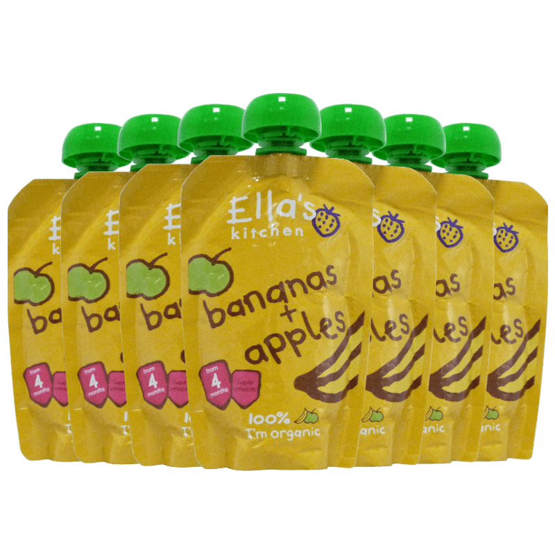 Ella's kitchen 艾拉 厨房有机苹果香蕉混合 婴儿果泥 120g*7