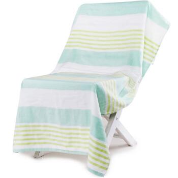 三利 纯棉纱布浴巾 70*140cm 森绿条纹