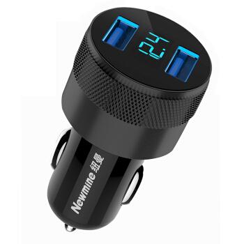 纽曼 车载充电器双USB车充 汽车快速充电器一拖二 点烟器式充电头 电压监测