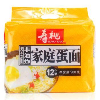 【京东超市】寿桃牌 非油炸 方便速食 好面天天煮(12个家庭装)蛋面 900g *2件