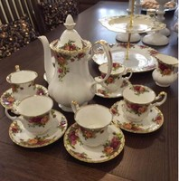 Royal Albert 皇家阿尔伯特 乡村玫瑰 骨瓷 下午茶餐具 9件套