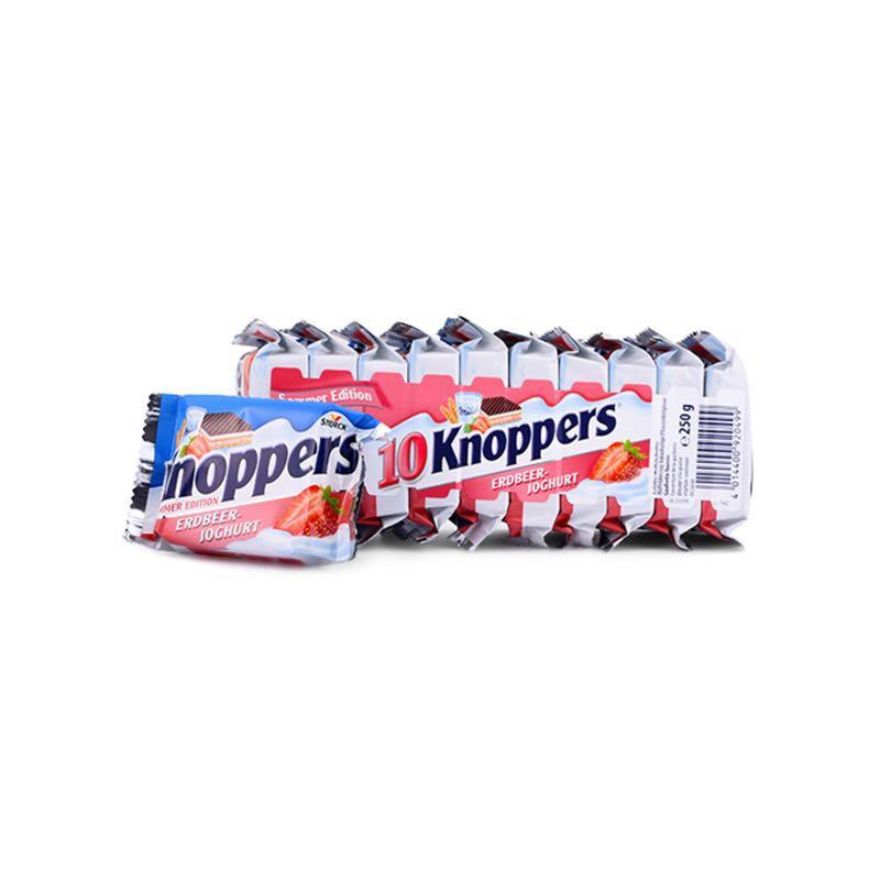 Knoppers 牛奶真正巧克力威化饼干草莓味 250克*30包装*3件