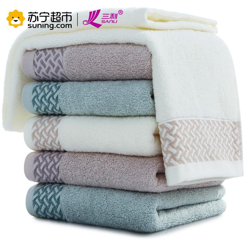 【苏宁超市】三利 纯棉素雅缎档毛巾超值6条装 33×73cm 柔软吸水洗脸面巾