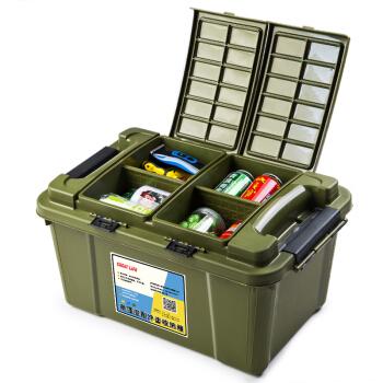 GREAT LIFE 升级翻盖汽车储物箱 家用整理箱 55L 军绿色