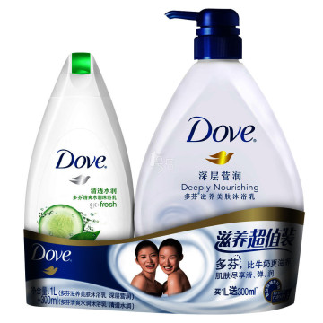 DOVE 多芬 深层莹润沐浴乳 1000g + 清透水润沐浴乳 300g *3件 +凑单品