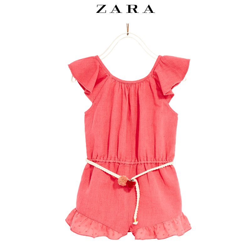 ZARA 03335679630 女童球状饰亚麻连体裙