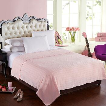 隽优(Covator)毛巾被 简约小方格素色竹棉毛巾被 单双人毯夏凉空调毯 粉色140*190cm