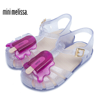 Melissa 梅丽莎 ARANHA 女童冰棒装饰镂空舒适平底凉鞋 透明色 25/26码