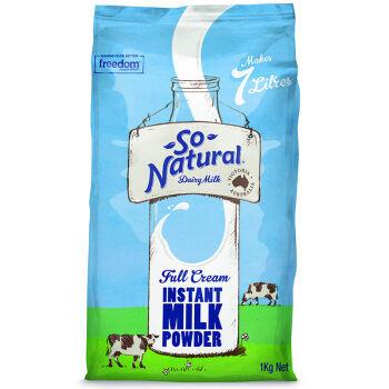 澳洲进口 澳伯顿 So Natural 全脂成人奶粉 1kg