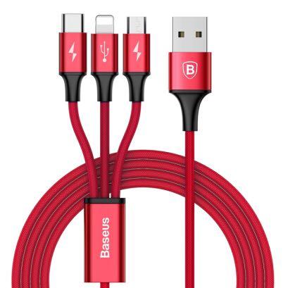 BASEUS 倍思 Baseus  三合一手机数据 1.2米 红色