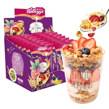 【京东超市】家乐氏 Kellogg's 水果麦片 谷兰诺拉 草莓什锦 即食谷物早餐 490g(35g*14)《旅途的花样》同款
