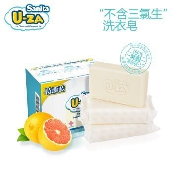 【京东超市】U-ZA婴儿柚子洗衣皂(3联装)宝宝肥皂 *2件