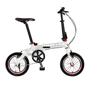 永久14寸折叠自行车 铝合金折叠车/正新轮胎/铝合金花鼓 X6 玲珑 白红色