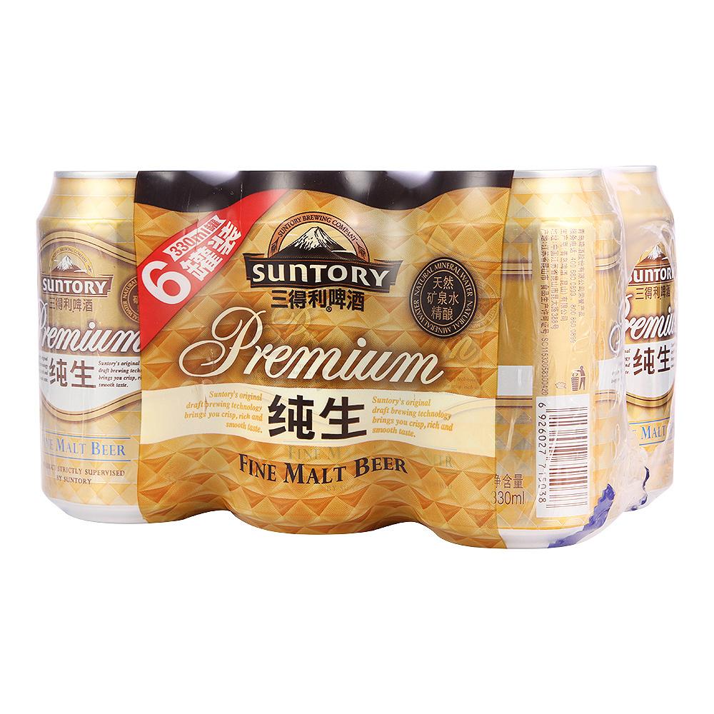【天猫超市】SUNTORY/三得利啤酒 纯生拉罐六连包330ml*6罐/组