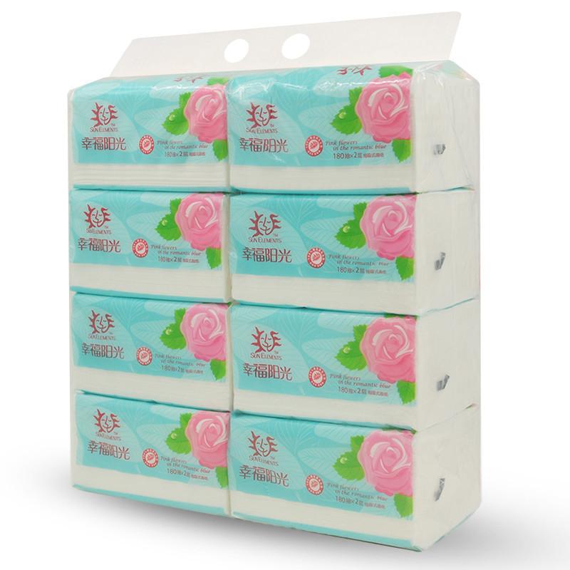 【苏宁超市】幸福阳光 抽纸 花之浪漫系列 小规格抽纸2层180抽*8包纸巾