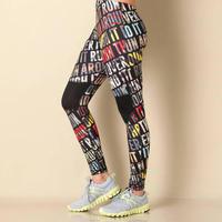Reebok 锐步 字母图案女士运动紧身裤