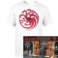 权力的游戏 主题 T恤+McFARLANE TOYS 铁王座大厅场景 拼装模型