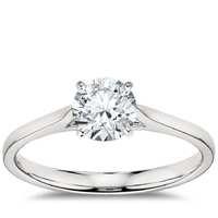 Blue Nile 经典四爪铂金钻石戒指 订婚戒指 1克拉