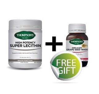 THOMPSON'S 汤普森 高效卵磷脂胶囊200粒*2瓶+葡萄籽60粒*2瓶