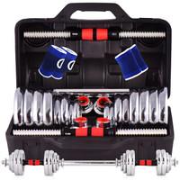 誠悅電鍍啞鈴杠鈴30kg(15公斤*2)男女士體育運動健身器材家用組合套裝CY-128