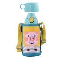 TIGER 虎牌  MBR-B06G-YP 儿童保温杯/直饮杯双盖学生保温杯 小猪600ML *3件