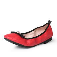 Tata/他她2017年春季红色牛皮女休闲鞋2ZE81AQ7