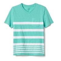 Gap 男童 733122 舒适条纹口袋V领 T恤
