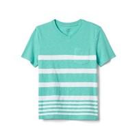Gap 男童 733122 舒适条纹口袋V领T恤