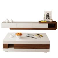 A家家具 简约拼色可伸缩 茶几 电视柜组合