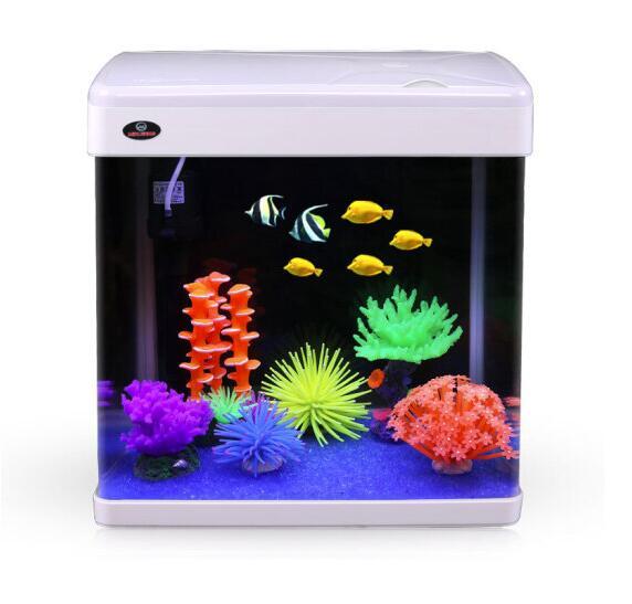 闽江 鱼缸水族箱玻璃金鱼缸LED灯触控小彩缸 MJ-M360 白色