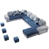 紫茉莉 大户型布艺沙发 六件套组合 地毯