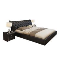 忆斧至家 真皮靠包床套装 框架结构床 1.8米款 +椰棕床垫+床头柜 2个 纯黑色
