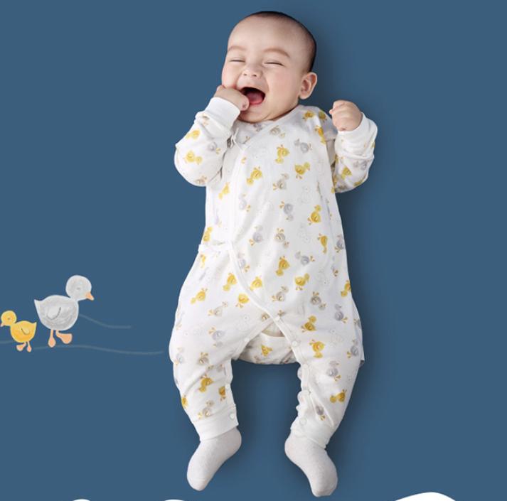 misslele 米乐鱼 咪咕小鸭图案 婴儿连体衣