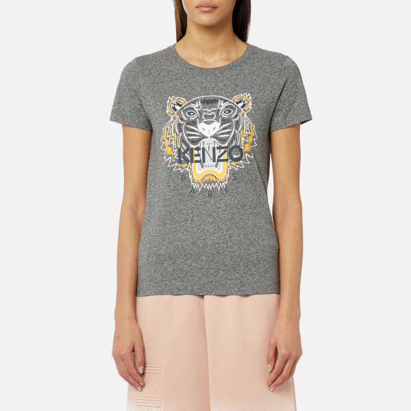 KENZO 女士灰色虎头图案短袖T恤