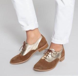 R STUDIO 女士撞色拼接皮鞋