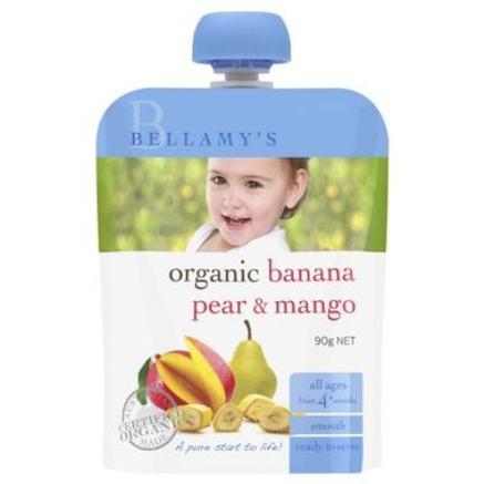 BELLAMY'S 贝拉米 婴儿有机香蕉梨芒果泥水果泥 4个月以上 90g