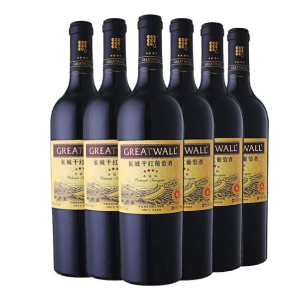 Great Wall 长城红酒 星级系列 四星赤霞珠干红葡萄酒 整箱装 750ml*6瓶