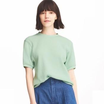 UNIQLO 优衣库 409609 女士华夫格圆领T恤