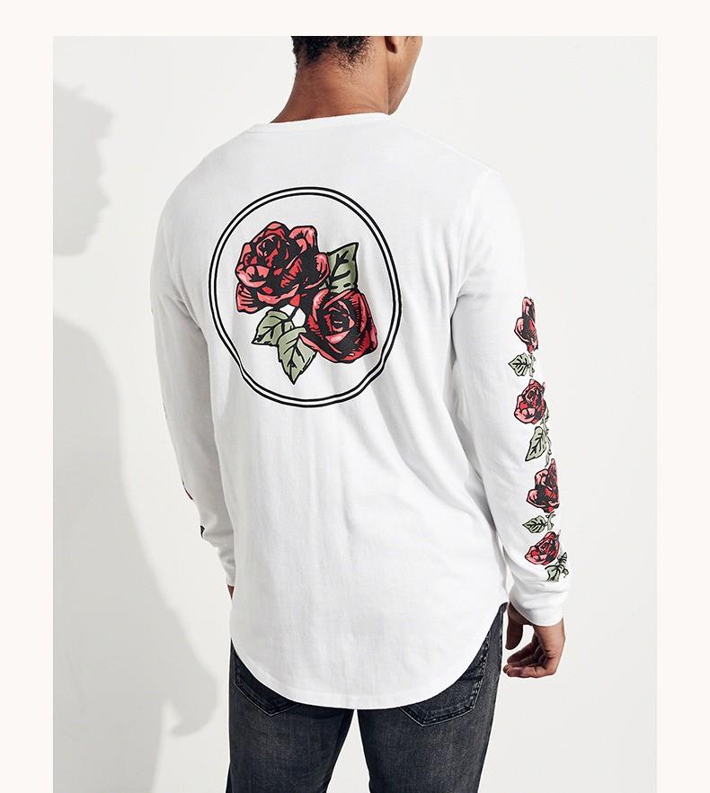 HOLLISTER 196511 男士玫瑰插画长袖T恤