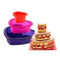LEKUE 乐葵 三层心形蛋糕 烤箱用烘焙硅胶模具 3件套