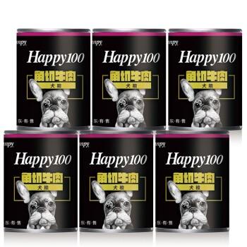 Wanpy 顽皮 happy100系列 狗罐头 角切牛肉罐头 375g*6罐
